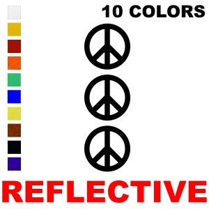 LiteMark Reflective 2 Inch Peace Symbol  - Pack of 3